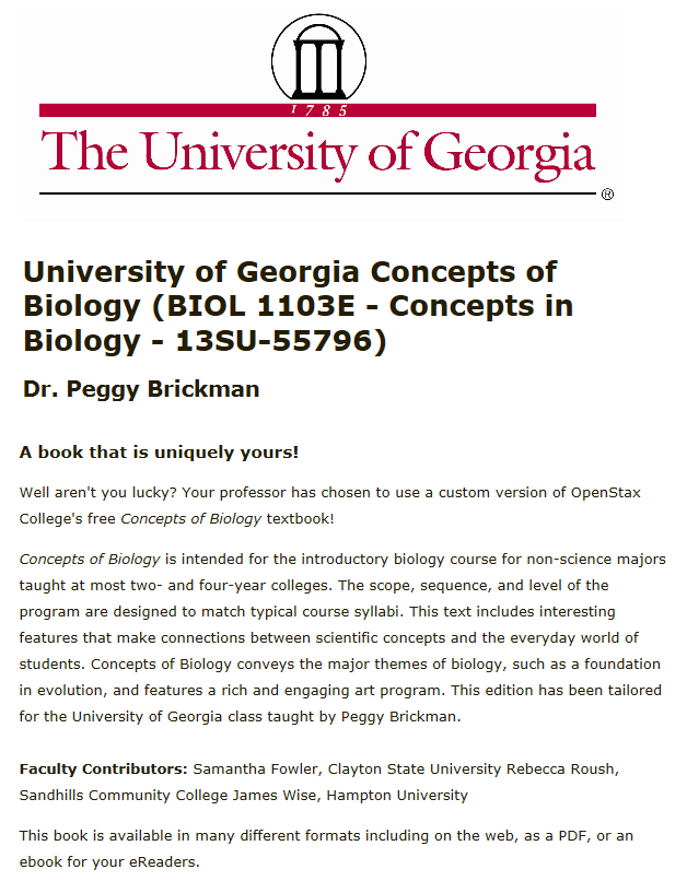 Image of book titled University of Georgia Concepts of Biology